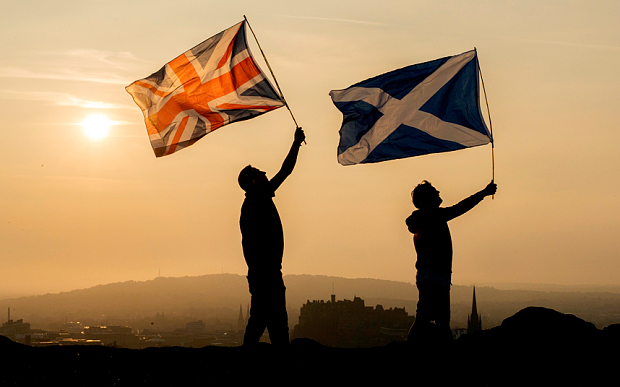 The Saltire and Union flags on Arthur's Seat photo Carol McCabe in The Telegraph