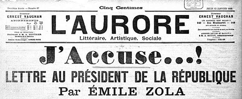 Zola's letter J'Accuse' to L'Aurore title Wikipedia