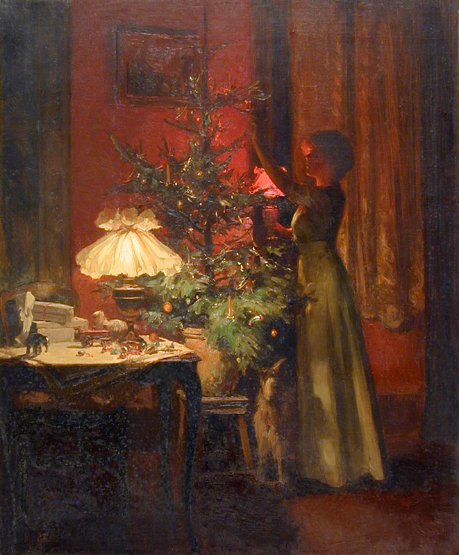 Young woman decorating the Christmas tree - Marcel Rieder 1898