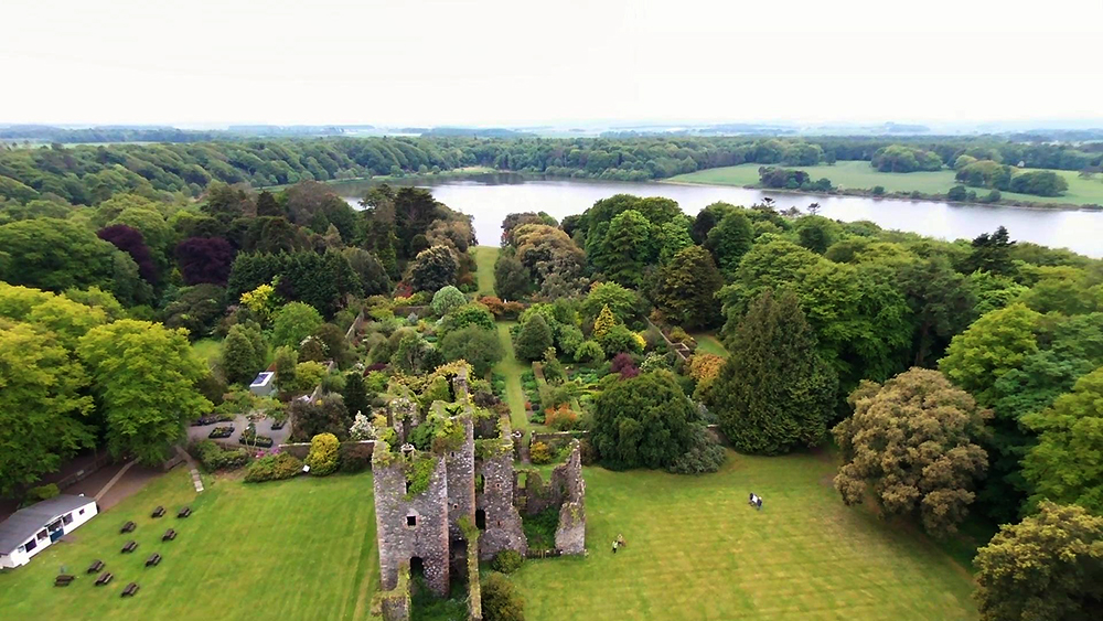 Aerial view of Castle Kennedy and Walled Garden © 2015 Scotiana