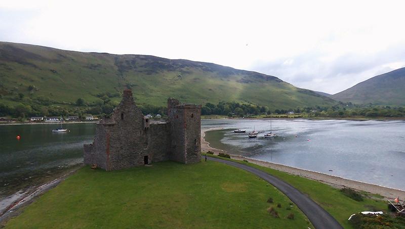 Arran Lochranza Castle aerial view © 2015 Scotiana