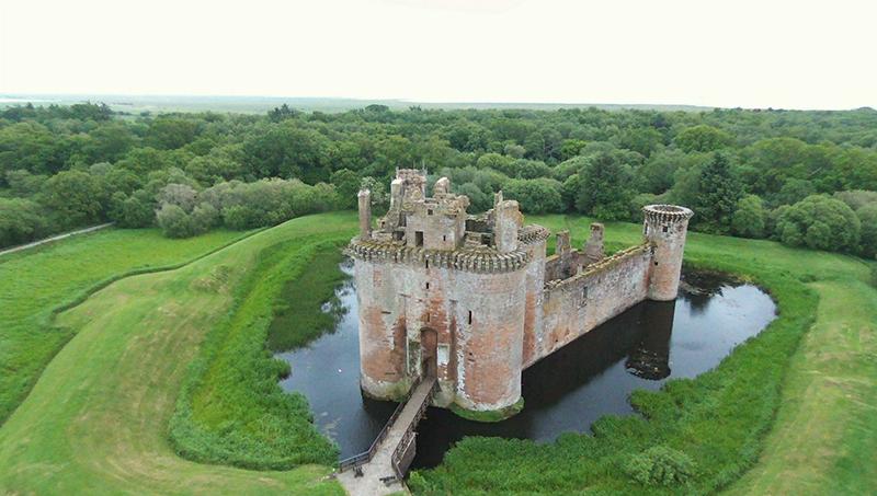 Caerlaverock Castle aerial view Bebop Drone © 2015 Scotiana