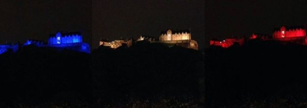 Edinburgh castle in French colours © 2015 BBC News