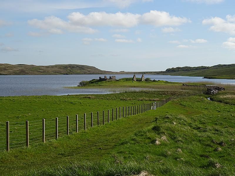 Islay Finlaggan ruins and wooden walkway © 2015 Scotiana