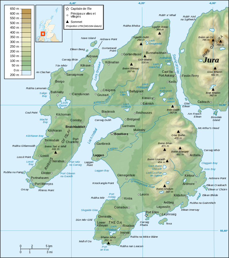 Islay topographicmap © Ayack Wikimedia Commons