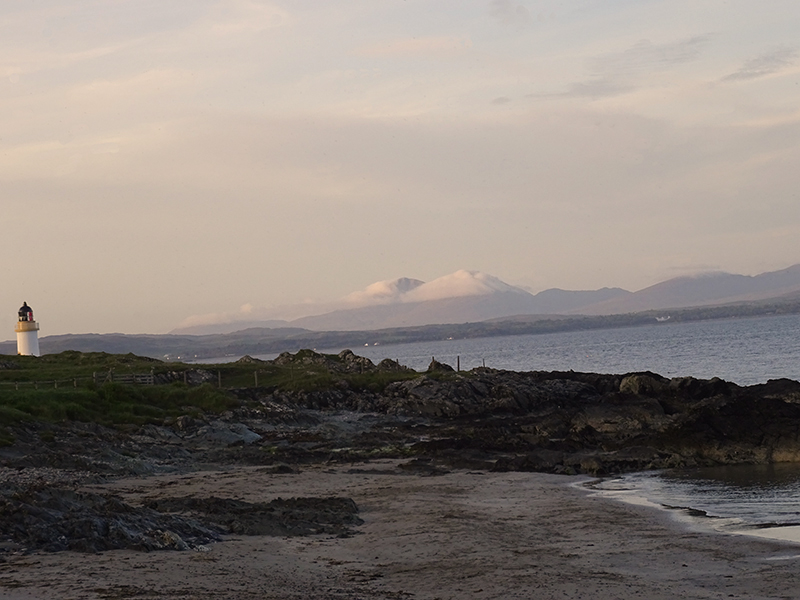 Port Charlotte    loch Indaal beach lighthouse and Jura Paps © 2015 Scotiana