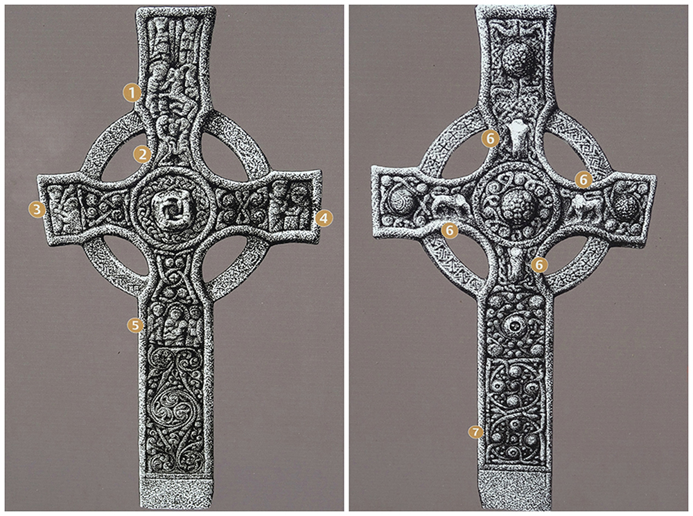 Islay Kildalton Cross face  1 & 2 from HS illustrated panel  © 2015 Scotiana