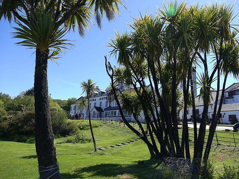 Jura Hotel and palm trees in Craighouse © 2015 Scotiana