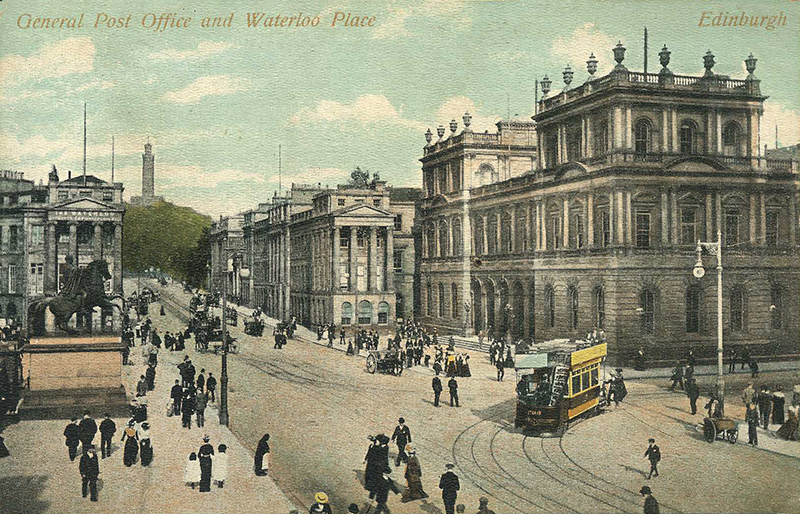 General  Post Office and Waterloo Place - Edinburgh old postcard
