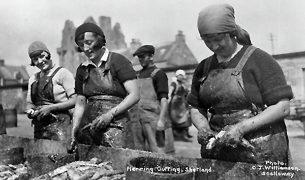 Herring gutters in Scalloway CJ Williamson ©Shetland Museum and Archives