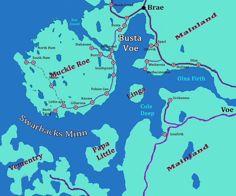 Swarbacks Minn Busta Voe map Shetland Mainland © 2016 Scotiana