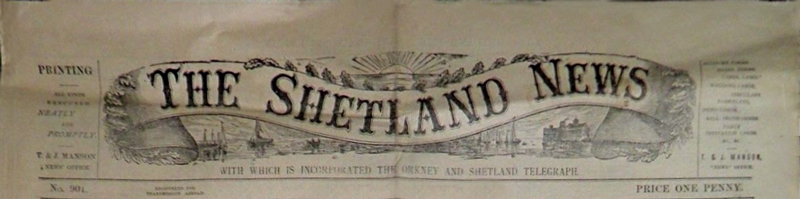 The illustrated header of an old issue of The Shetland News