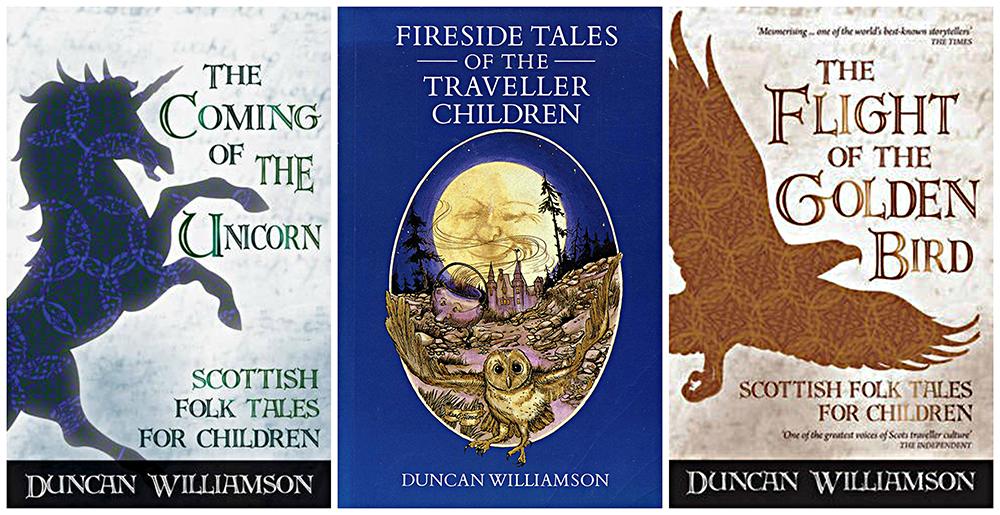 Duncan Williamson three children's books collage Scotiana