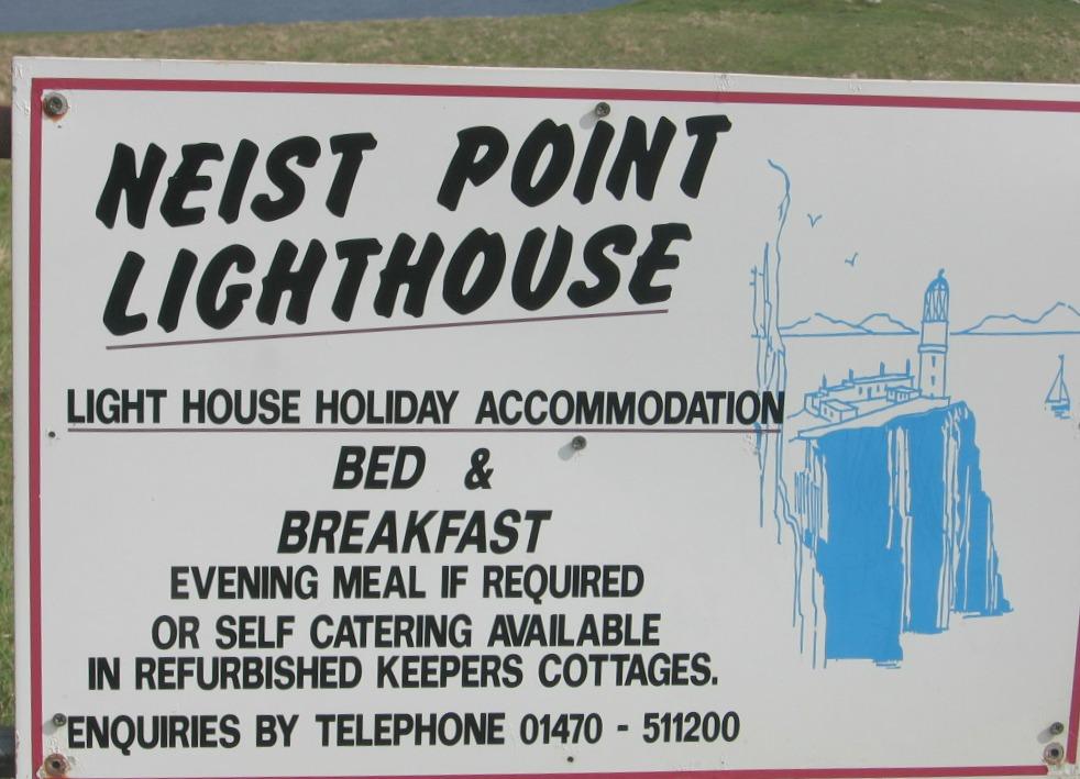 Nest point Lighthouse Accomodation Sign - Isle of Skye in Scotland