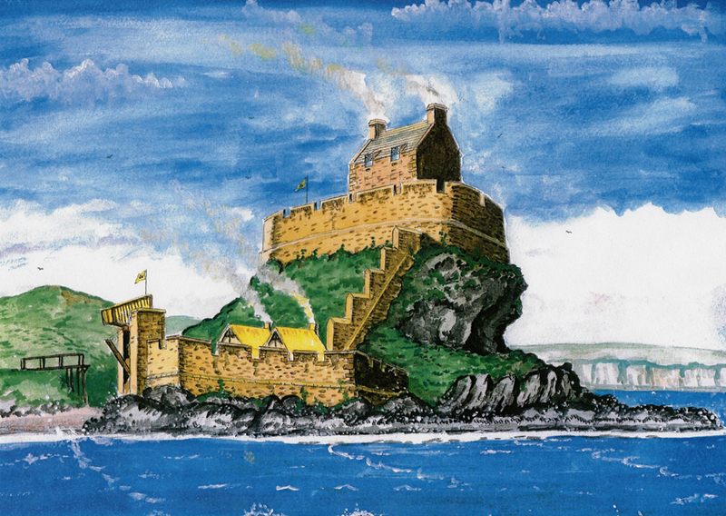 Dunaverty castle in the 1500s - reconstructed image by Andrew Spratt