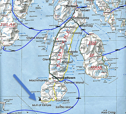 scotland mull of kintyre map