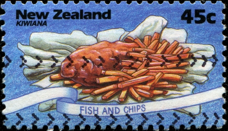 Fish and chips on postage stamps