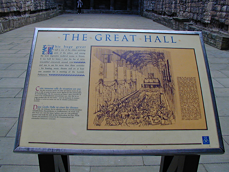 Linlithgow Palace The Great Hall HS interpretive panel © 2003 Scotiana