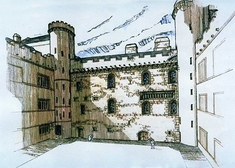 Linlithgow Palace West Range Historic Scotland panel illustration