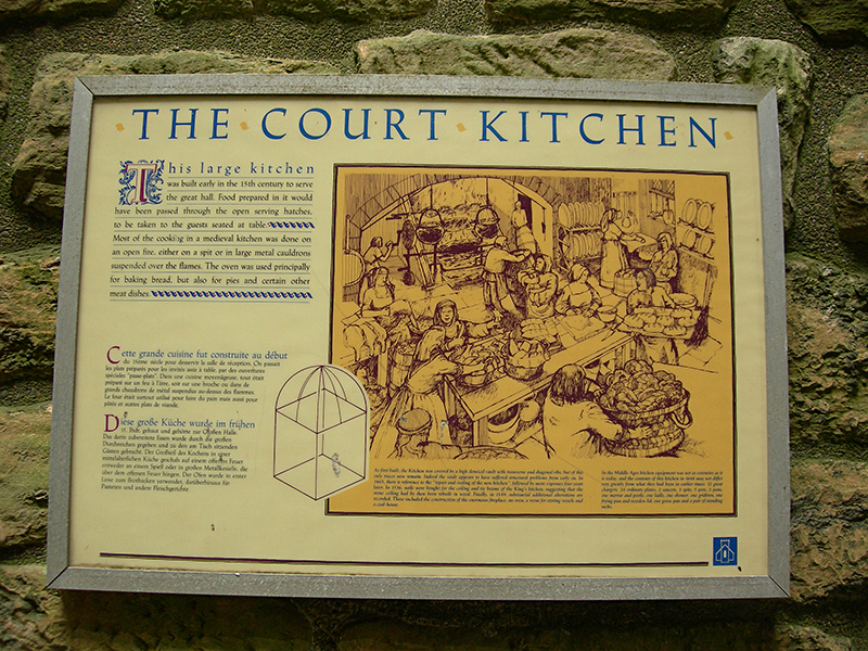 Linlithgow Palace the Court Kitchen HES panel © 2007 Scotiana