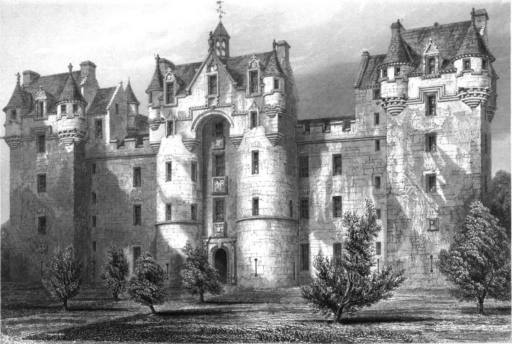 Fyvie Castle drawn by Robert William Billings and engraved by J. H. Le Keux