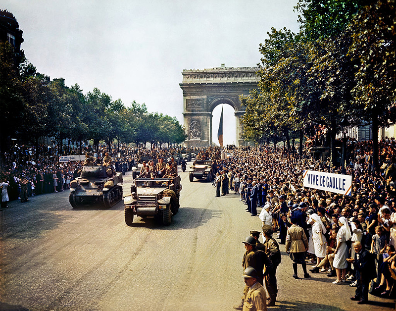 Parade celebrating the Liberation of Paris -August 26th 1944