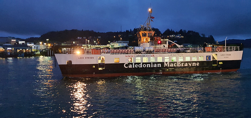 Oban by night Caledonian MacBrayne ferry © 2019 Scotiana