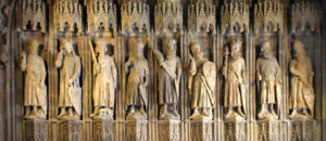 Oldest known sculptures of the Nine Worthies at the old city hall in Cologne, Germany. Source: Wikipedia