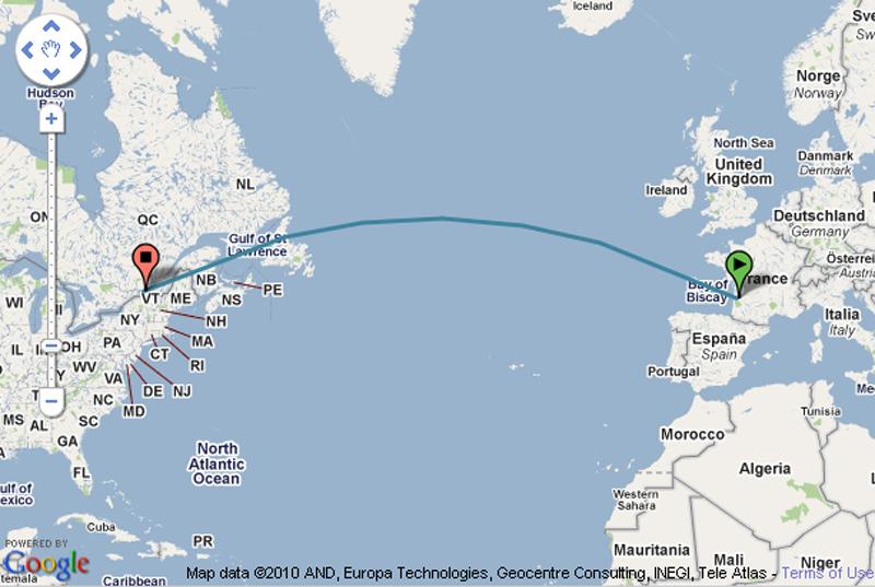 Vol Bordeaux-Montréal (Google Maps)