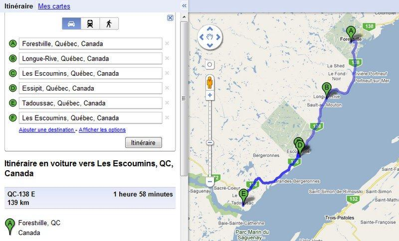 Modified Google map Quebec Scotiana 2010 Forestville_Longue rive_Les escoumins_Essipit_Tadoussac_Les Escoumins