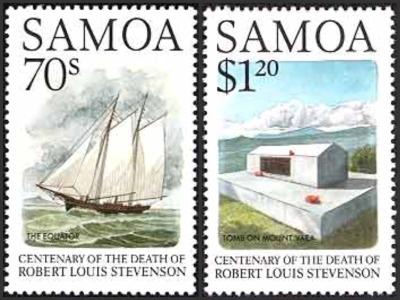 Samoa Robert Louis Stevenson - Centenary Death -Equator Sailing Ship and Tomb