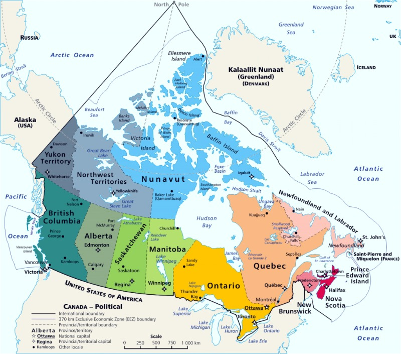 Canada Map Maritime Territory - 12 provinces