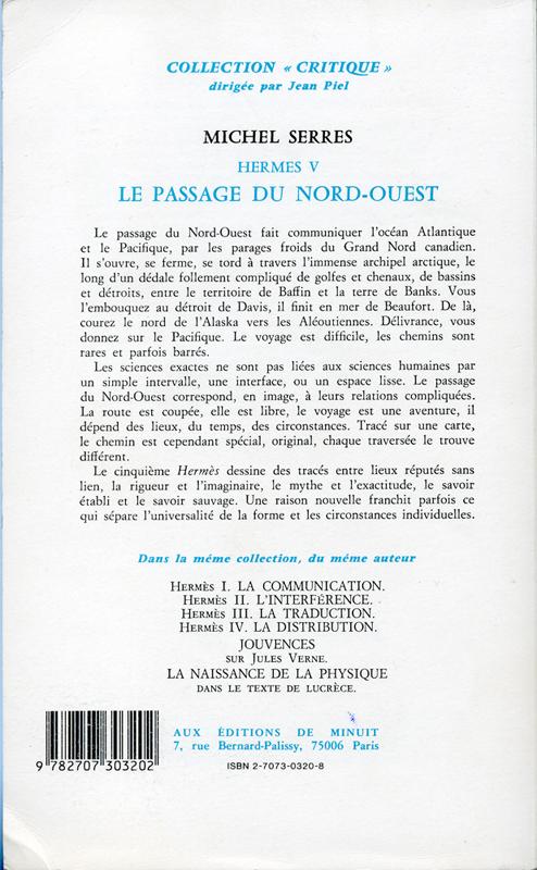"""Le passage du Nord-Ouest Michel Serres Hermes V Les Editions de Minuit Collection """"Critique"""" 1980"""
