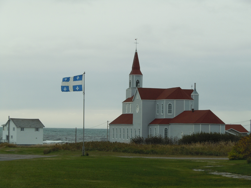 Rivière-au-Tonnerre Church Quebec flag Road 138 Côte-Nord Quebec PC Scotiana 2010