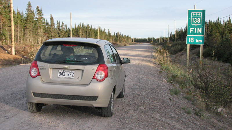 End of Road 138 Pointe-Parent Aveo Scotiana 2010
