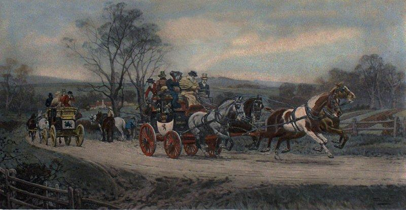 'Behind time' anonymous engraving of a stagecoach in England source Wikipedia