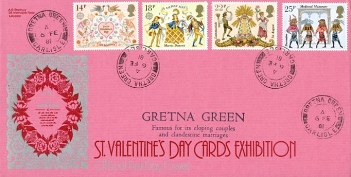 GB- Gretna-Green-Postmarks-1981-Bradbury-FDC-St-Valentines day
