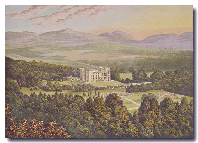 'O Castelo de Drumlanrig, em 1880'  - Morris's Seats of Noblemen and Gentlemen (1880) Source Wikipedia