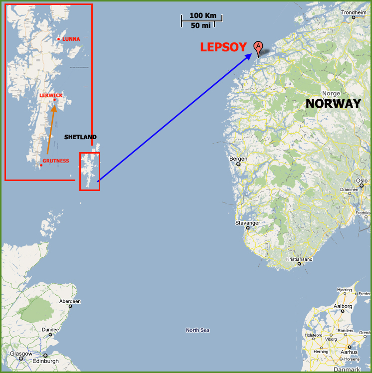 Betty Mouat's Lone Voyage Google map modified by Scotiana 2011 05 18 Shetland_Lepsoy