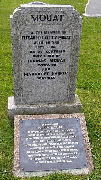 Betty Mouat's Memorial at Dunrossness Churchyard Shetlopedia