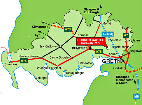 Hoddom Castle Caravan Park map