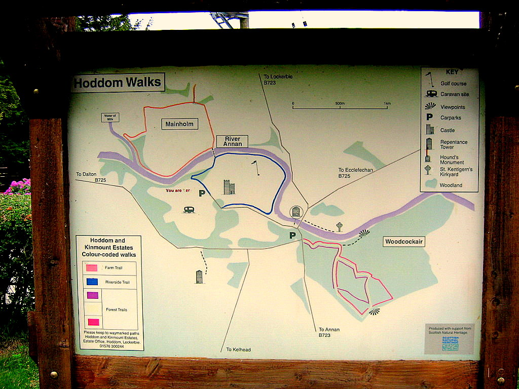 Scotland Dumfries & Galloway Hoddom Castle walks map © 2004 Scotiana