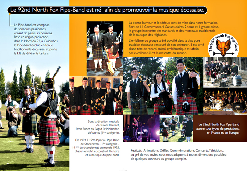 An extract from  the 92nd Norh Fox Pipe Band brochure