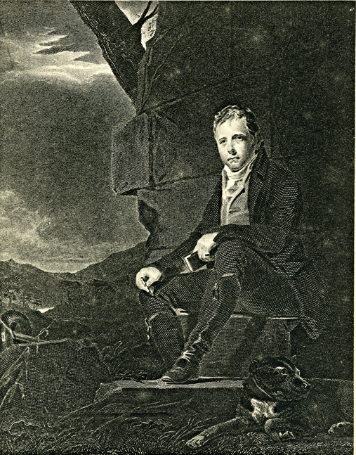 Raeburn's portrait of Sir Walter Scott and his dog Camp at Hermitage Castle 1808