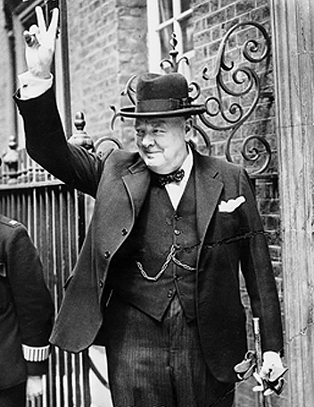 Sir Winston Churchill WWII V sign Source Wikipedia