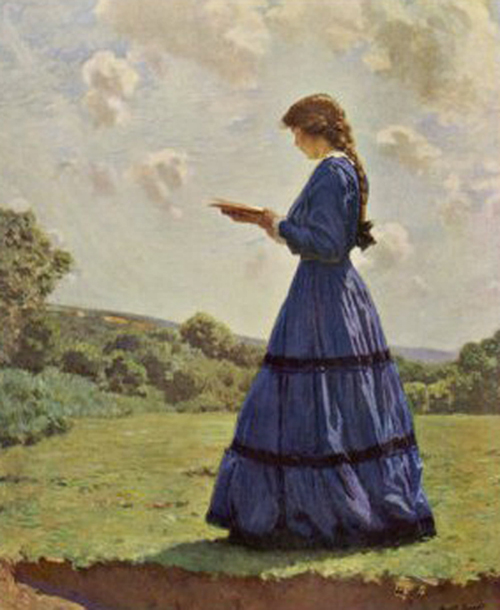 'Girl stands in a field reading her book' Harold Knight (1874-1961)