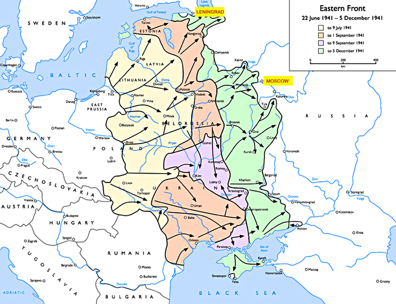 Operation Barbarossa the German invasion of the Soviet Union 21 June 1941 to 5 December 1941 Source Wikipedia