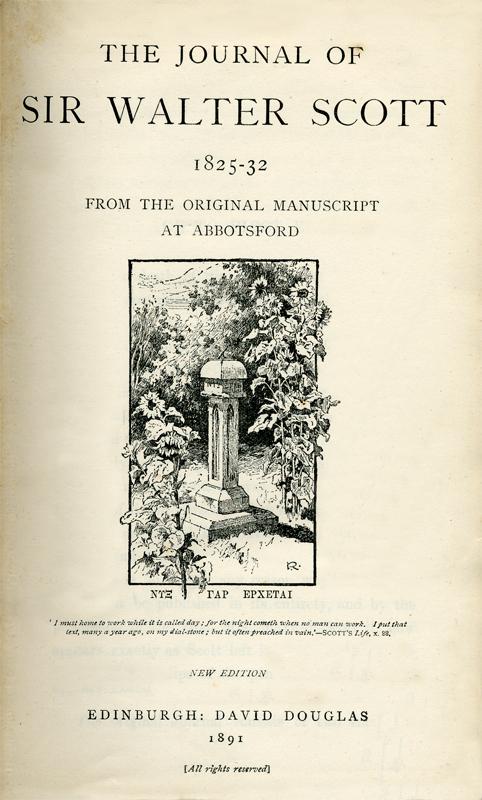 Frontispiece of Sir Walter Scott's Journal - David Douglas Edinburgh 1891 edition