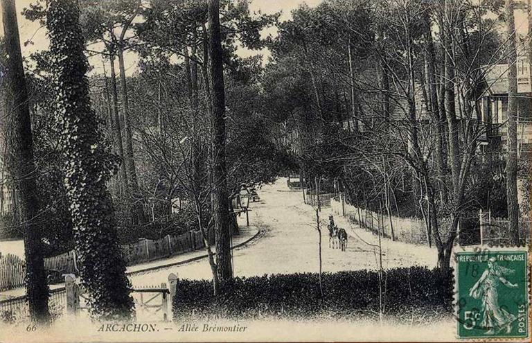 Arcachon Ville d'hiver Allée Brémontier old postcard 1912