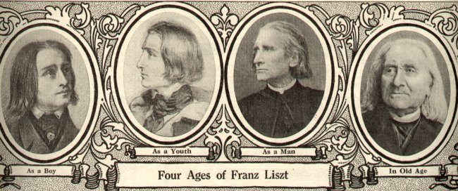 The 'Four Ages of Franz Liszt 'from  'The Etude' magazine 1913 Source Wikimedia